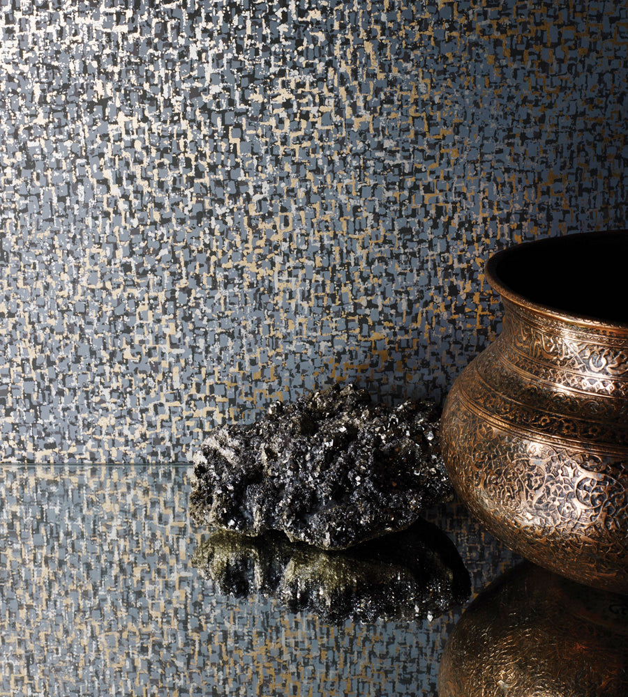 Tesserae Wallpaper in Slate and Metallic Bronze from the Pasha Collection by Osborne & Little