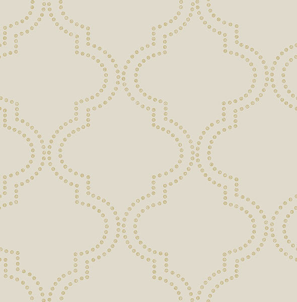 Sample Tetra Beige Quatrefoil Wallpaper from the Symetrie Collection by Brewster Home Fashions