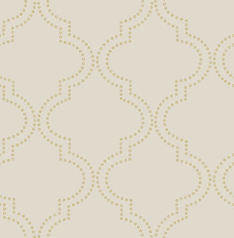 Tetra Beige Quatrefoil Wallpaper from the Symetrie Collection by Brewster Home Fashions
