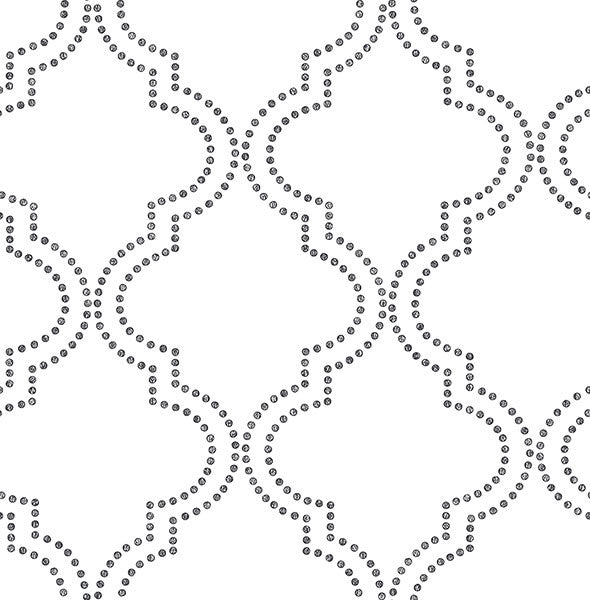 Tetra Black and White Quatrefoil Wallpaper from the Symetrie Collection by Brewster Home Fashions