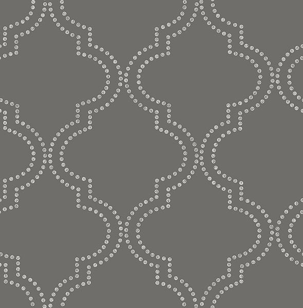 Tetra Charcoal Quatrefoil Wallpaper from the Symetrie Collection by Brewster Home Fashions