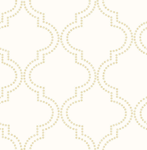 Sample Tetra Cream Quatrefoil Wallpaper from the Symetrie Collection by Brewster Home Fashions