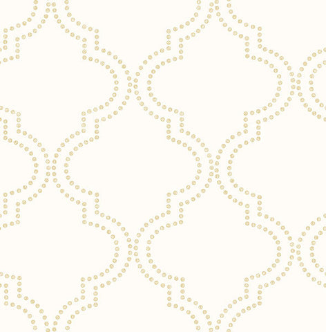 Tetra Cream Quatrefoil Wallpaper from the Symetrie Collection by Brewster Home Fashions