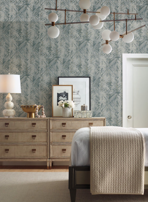 Textural Impremere Wallpaper in Blue and Green from the Impressionist Collection by York Wallcoverings