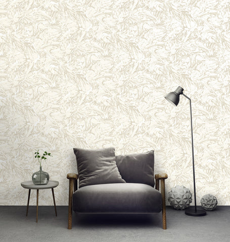 Textured Ink Abstract Wallpaper in Cream by Walls Republic