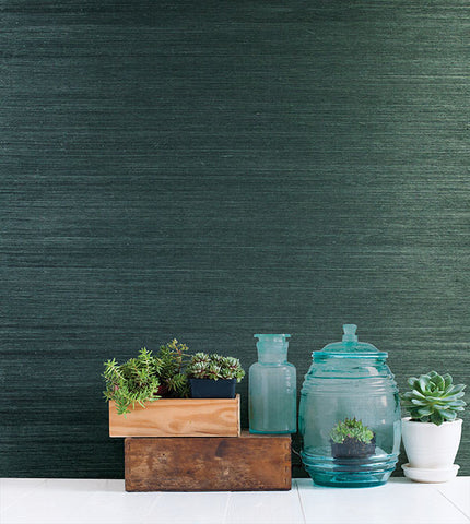 Thanos Teal Grasscloth Wallpaper from the Jade Collection by Brewster Home Fashions