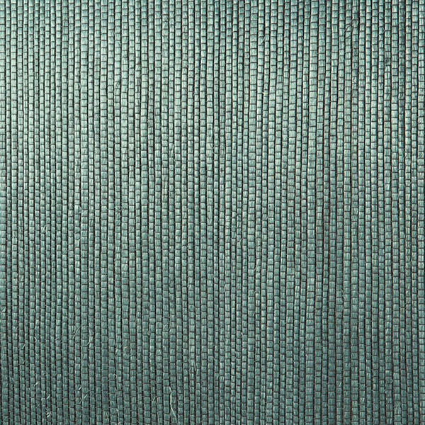 Sample Thanos Teal Grasscloth Wallpaper from the Jade Collection by Brewster Home Fashions