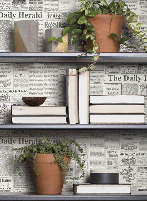The Daily Wallpaper in Soft Grey and Black from the Magnolia Home Collection by Joanna Gaines
