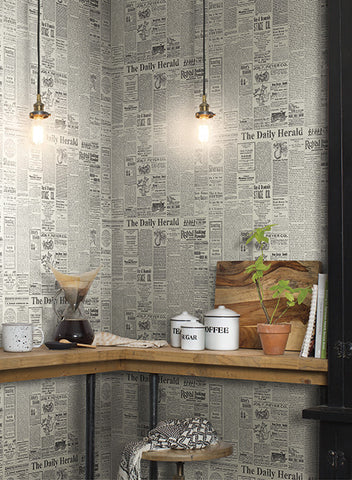 The Daily Wallpaper in Grey and Black from the Magnolia Home Collection by Joanna Gaines