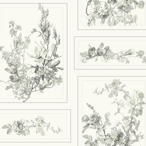 The Magnolia Wallpaper in Grey and White from the Magnolia Home Collection by Joanna Gaines
