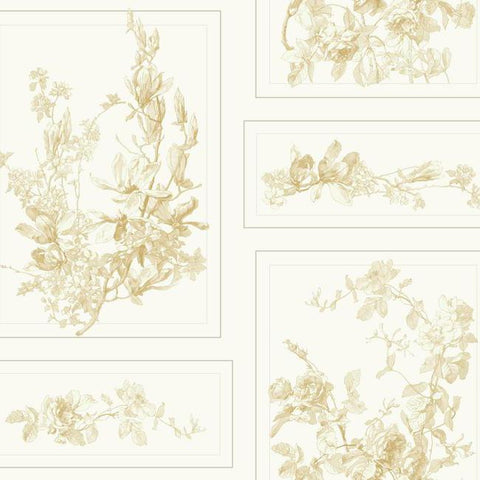 The Magnolia Wallpaper in Neutrals and Cream from the Magnolia Home Collection by Joanna Gaines