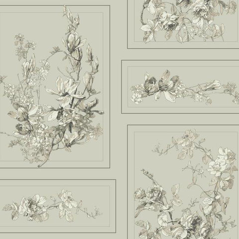 The Magnolia Wallpaper in Warm Grey and Neutrals from the Magnolia Home Collection by Joanna Gaines