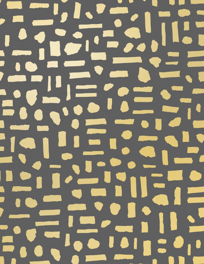 Sample The Pearl Wallpaper in Gold on Charcoal design by Juju