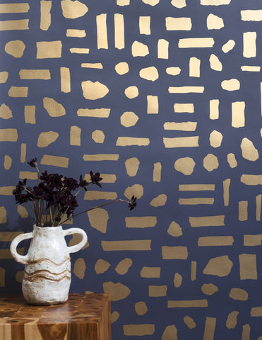 The Pearl Wallpaper in Gold on Charcoal design by Juju