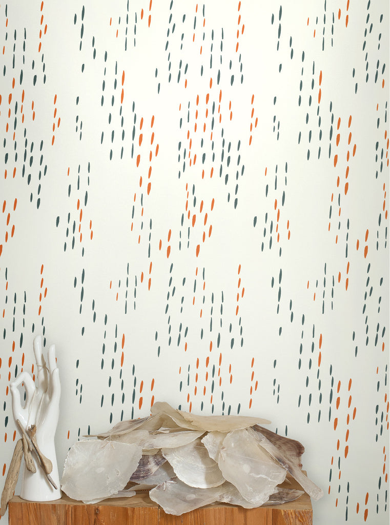 Sample The Sou'wester Wallpaper in Gloaming Neon Orange and Aquatic design by Juju