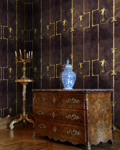 The Swan Wallpaper in Anthracite from the World of Antiquity Collection by Mind the Gap