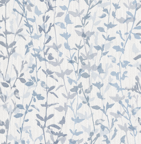 Thea Floral Trail Wallpaper in Blue from the Scott Living Collection by Brewster Home Fashions