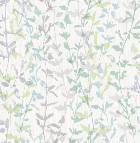 Thea Floral Trail Wallpaper in Green from the Scott Living Collection by Brewster Home Fashions