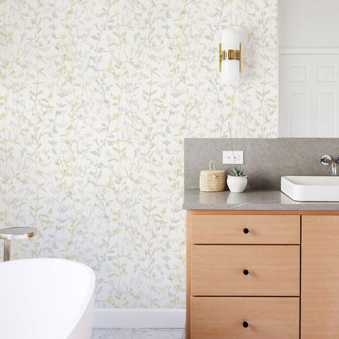 Thea Floral Trail Wallpaper in Light Grey from the Scott Living Collection by Brewster Home Fashions
