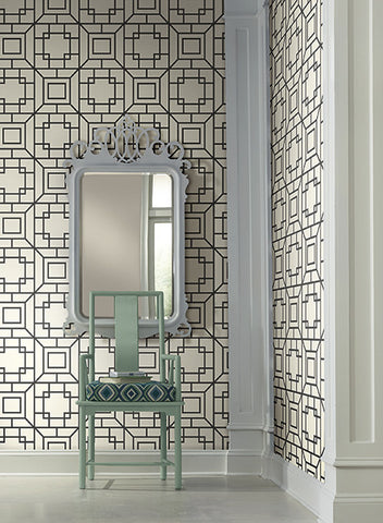 Theorem Geometric Wallpaper in Black and White by Ashford House for York Wallcoverings