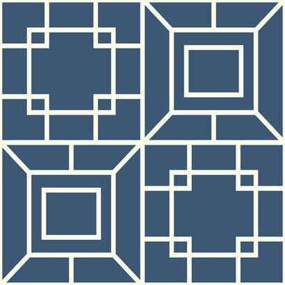 Theorem Geometric Wallpaper in Blue and White by Ashford House for York Wallcoverings