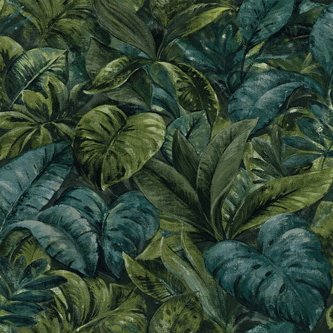 Sample Thick Jungle Foliage Wallpaper in Green by Walls Republic
