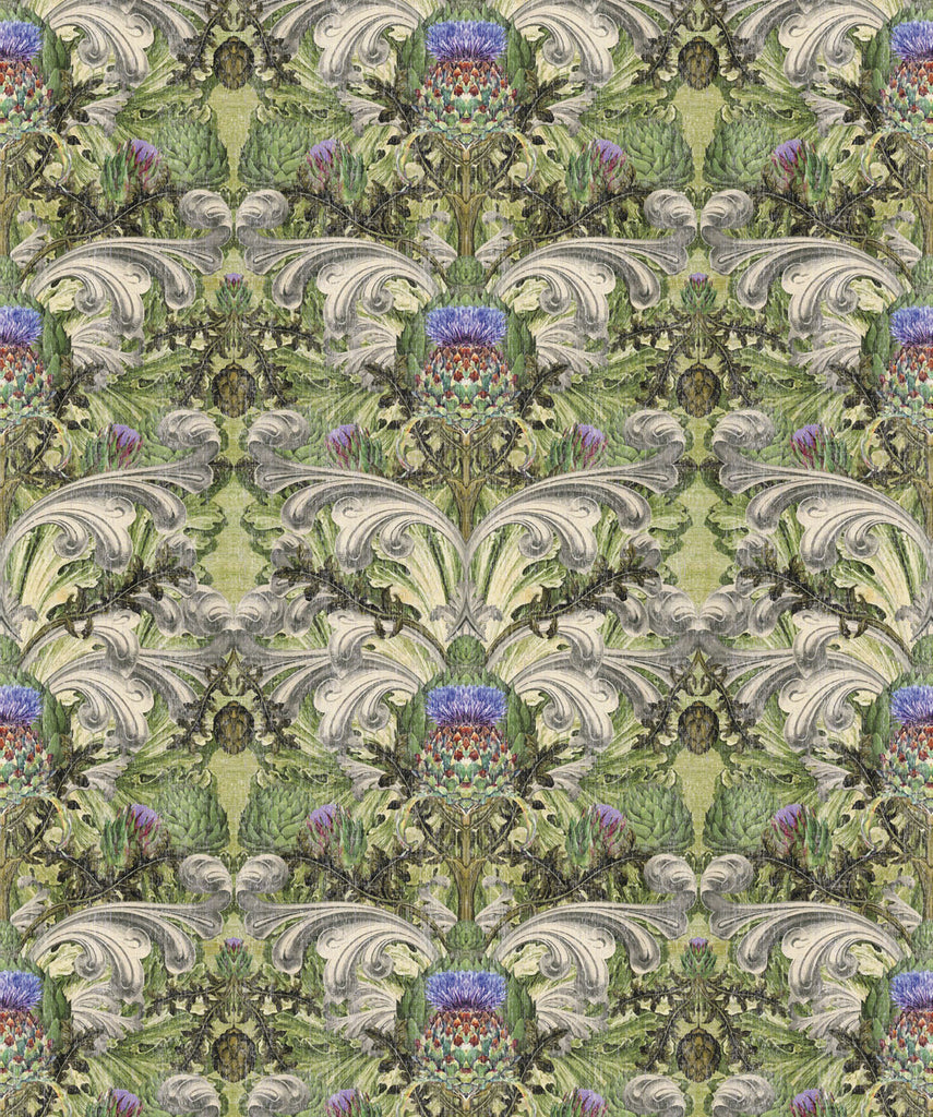 Sample Thistle Wallpaper in Sage by Simcox Designs for Milton & King