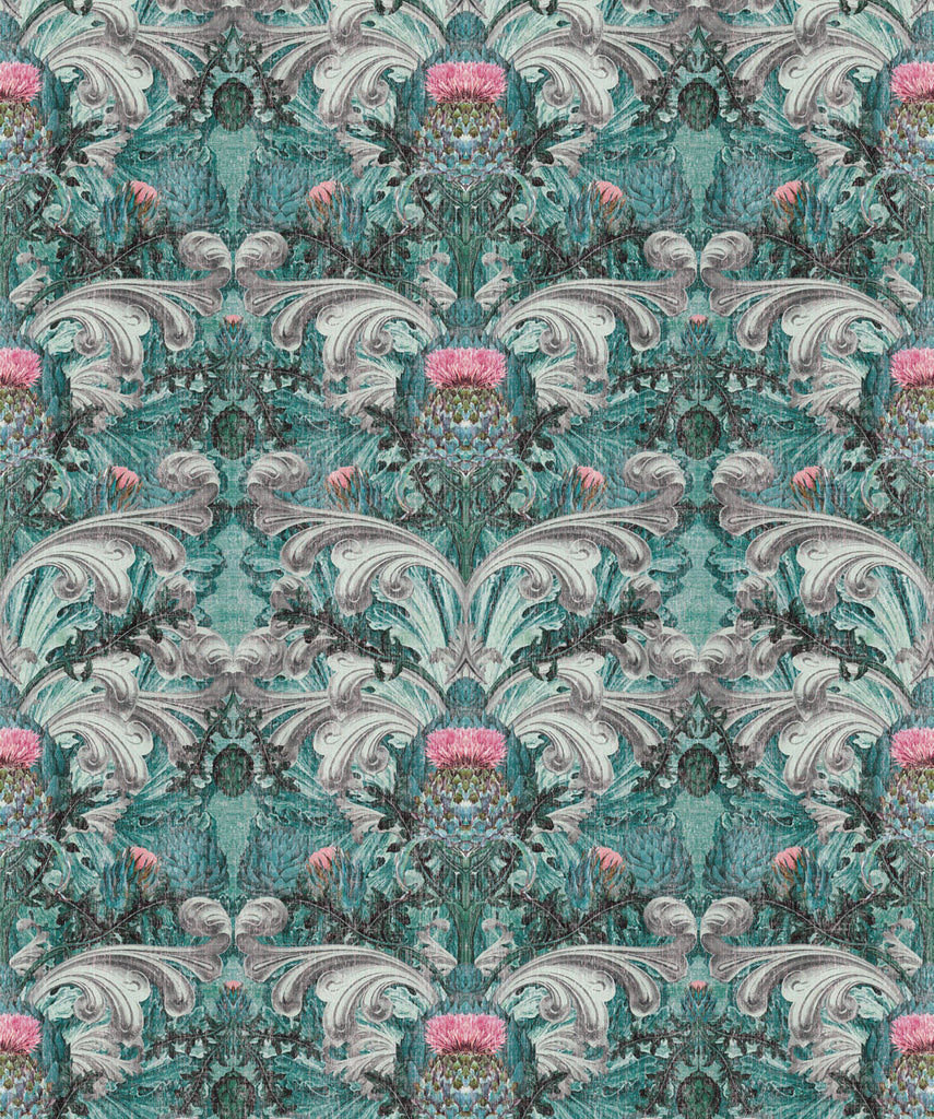 Sample Thistle Wallpaper in Turquoise by Simcox Designs for Milton & King