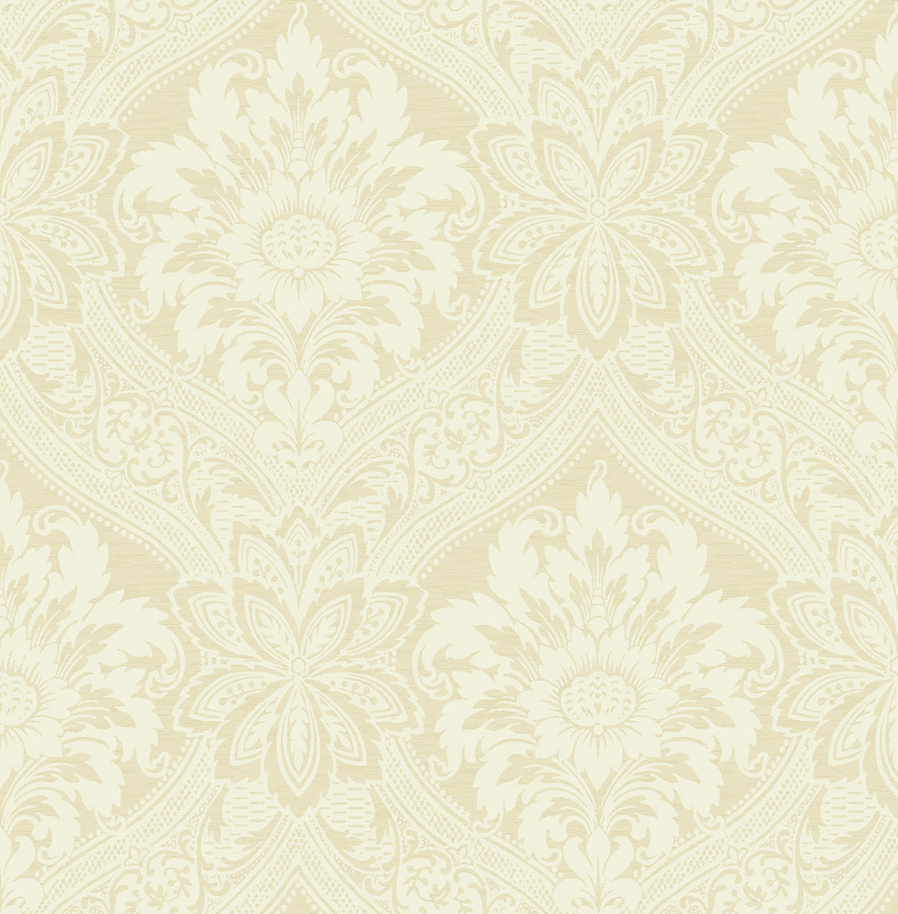 Thread Damask Wallpaper in Cream from the Watercolor Florals Collection by Mayflower Wallpaper