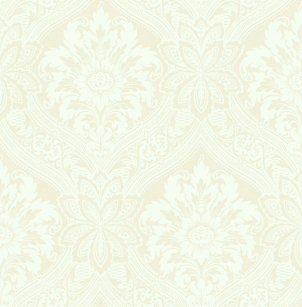 Sample Thread Damask Wallpaper in Ivory from the Watercolor Florals Collection by Mayflower Wallpaper