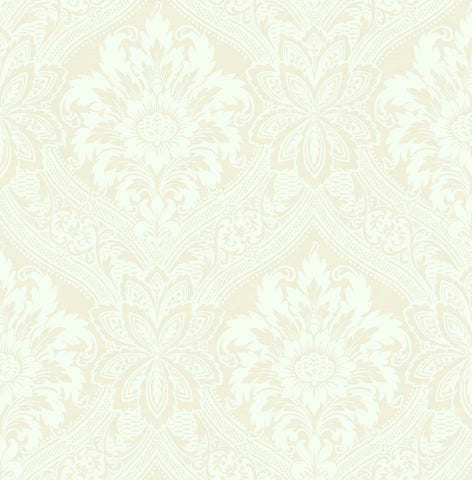 Thread Damask Wallpaper in Ivory from the Watercolor Florals Collection by Mayflower Wallpaper