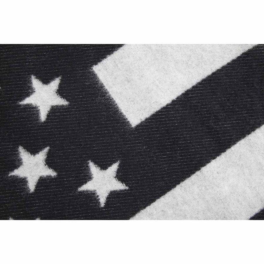 American Flag Black/Heather Gray Wool Throw design by Faribault
