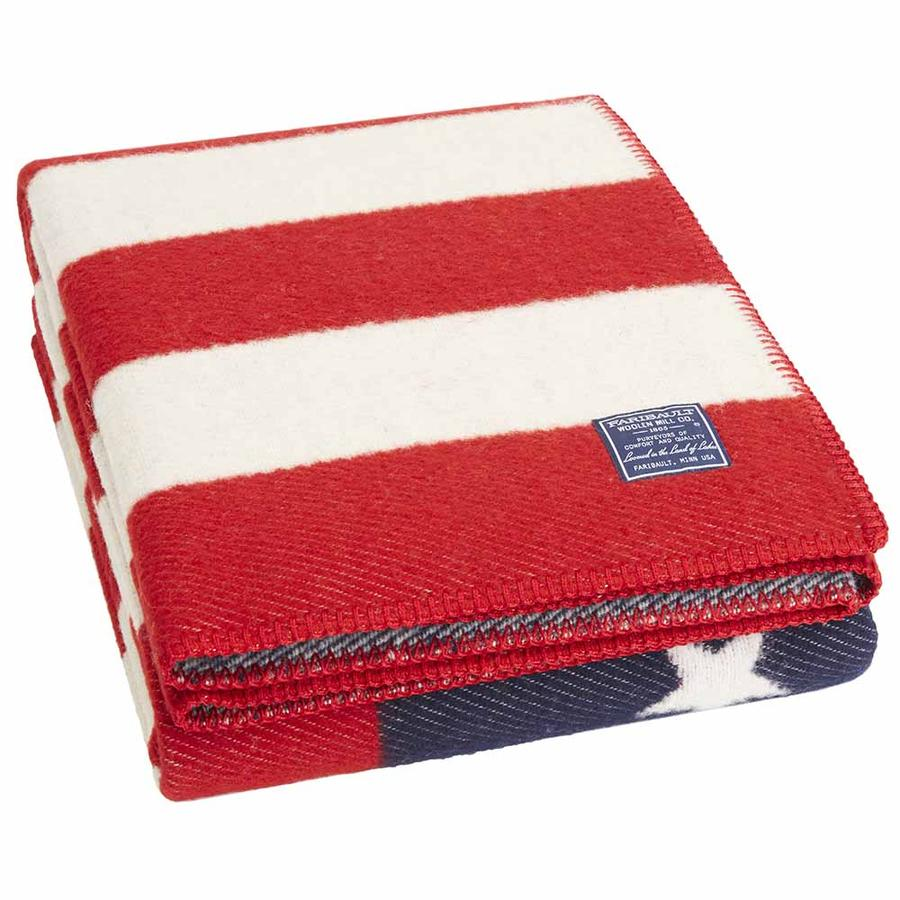 American Flag Red/White/Navy Wool Throw