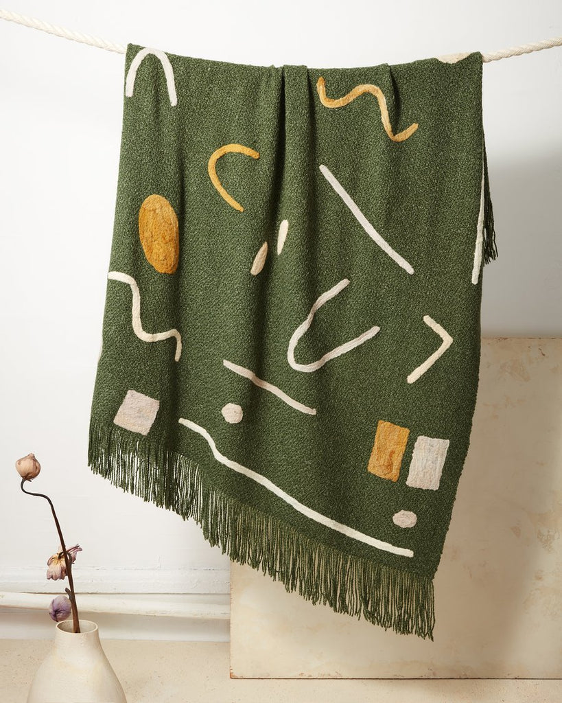 Abstract Throw in Hunter Green design by Minna