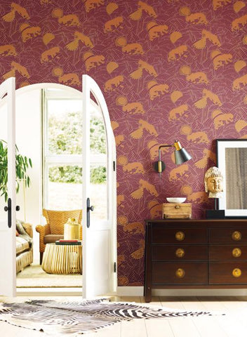 Tibetan Tigers Wallpaper from the Tea Garden Collection by Ronald Redding for York Wallcoverings