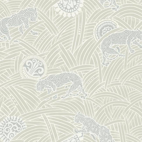 Tibetan Tigers Wallpaper in Ivory and Grey from the Tea Garden Collection by Ronald Redding for York Wallcoverings