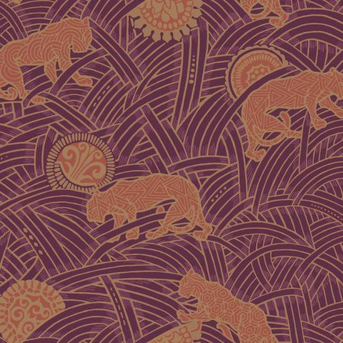 Tibetan Tigers Wallpaper in Red, Orange, and Gold from the Tea Garden Collection by Ronald Redding for York Wallcoverings