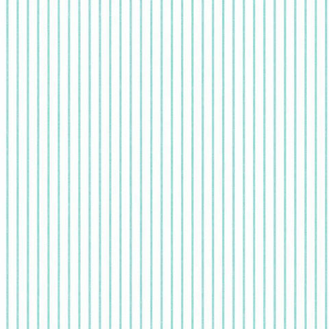 Ticking Stripe Wallpaper in Aqua from the A Perfect World Collection by York Wallcoverings