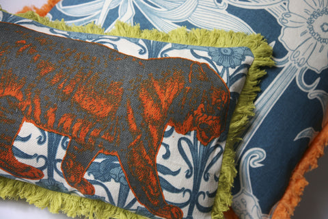 "Tiger 12"" x 20"" Linen/Cotton Pillow in Aqua design by Thomas Paul"