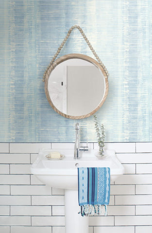 Tikki Natural Ombre Wallpaper in Blue Oasis from the Boho Rhapsody Collection by Seabrook Wallcoverings