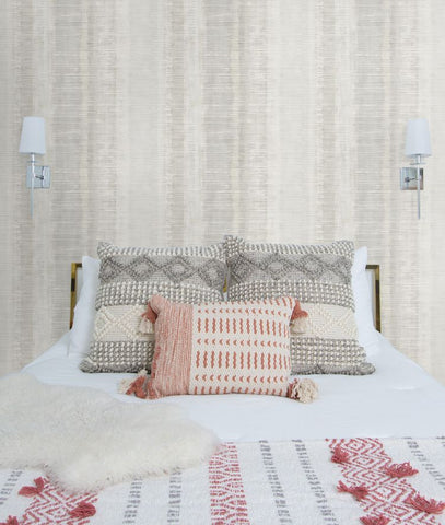 Tikki Natural Ombre Wallpaper in Grey Mist and Ivory from the Boho Rhapsody Collection by Seabrook Wallcoverings