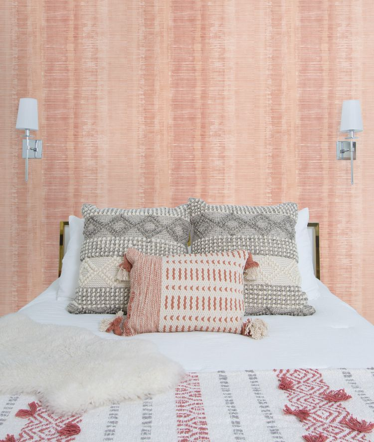 Tikki Natural Ombre Wallpaper in Pink Sunset from the Boho Rhapsody Collection by Seabrook Wallcoverings