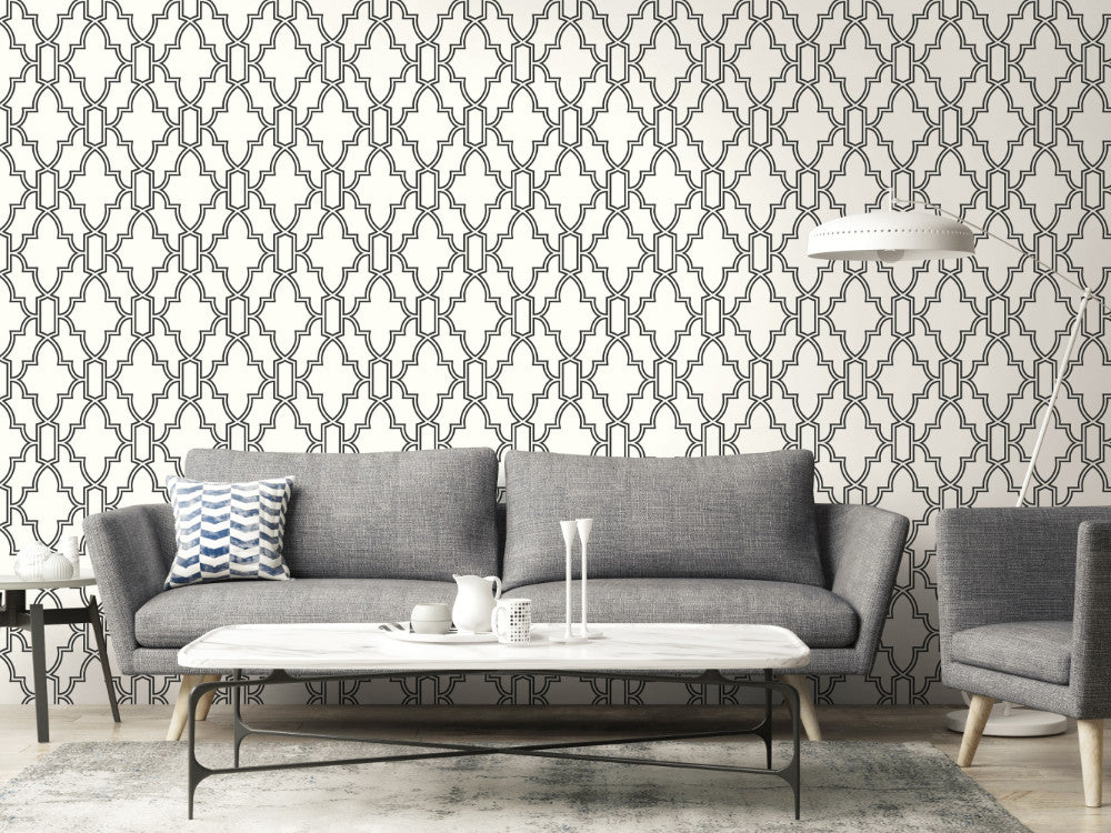 Tile Trellis Peel And Stick Wallpaper In Black And White By Nextwall Burke Decor