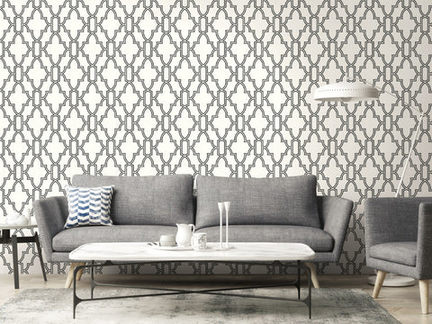 Tile Trellis Peel-and-Stick Wallpaper in Black and White by NextWall