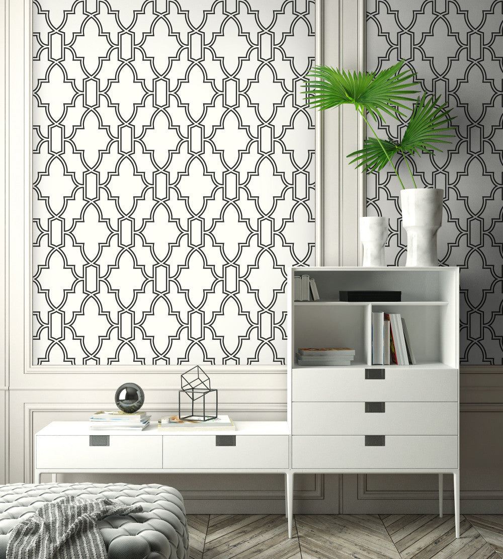 Tile Trellis Peel and Stick Wallpaper in Black and White by NextWall