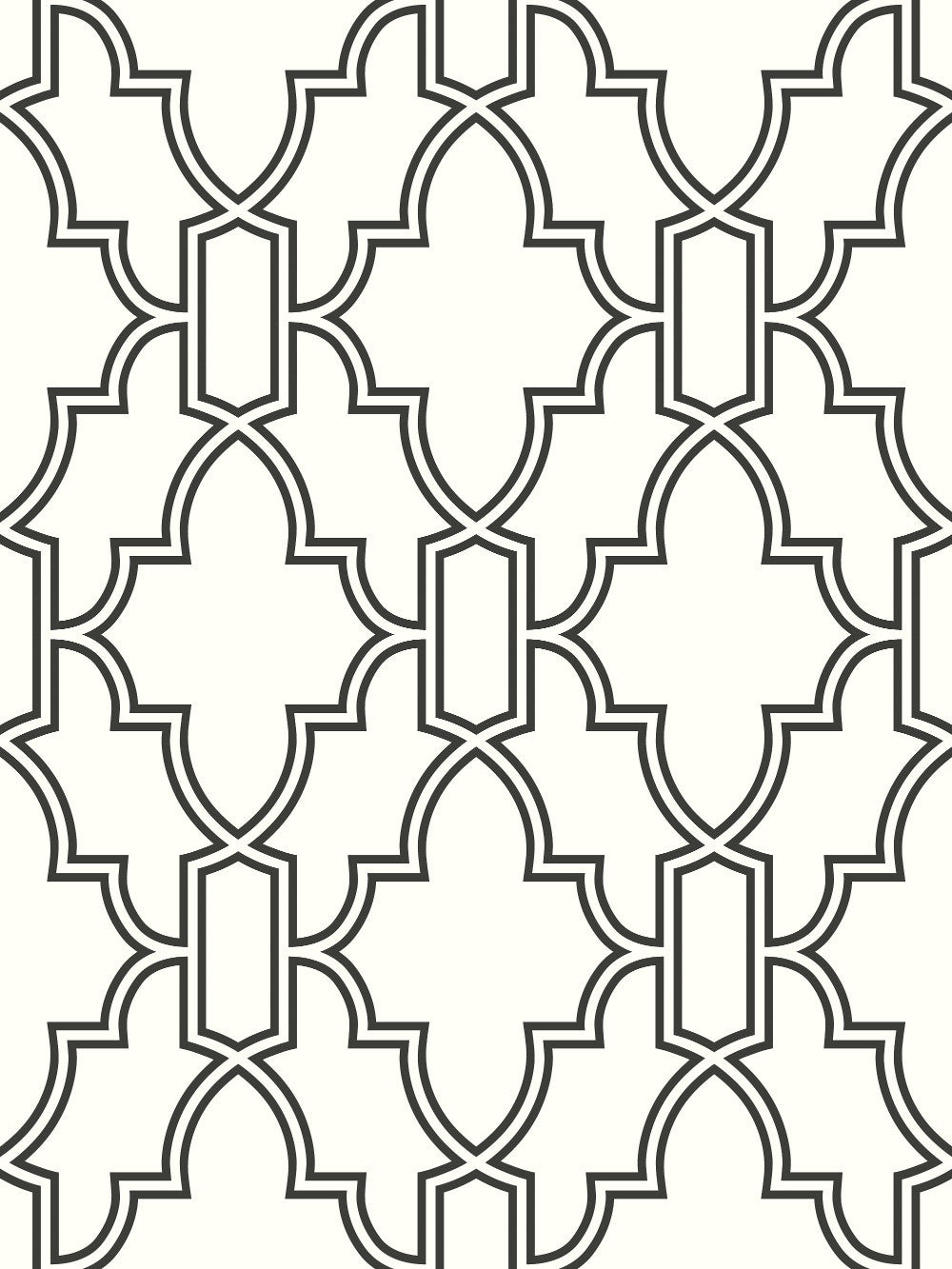 Sample Tile Trellis Peel And Stick Wallpaper In Black And