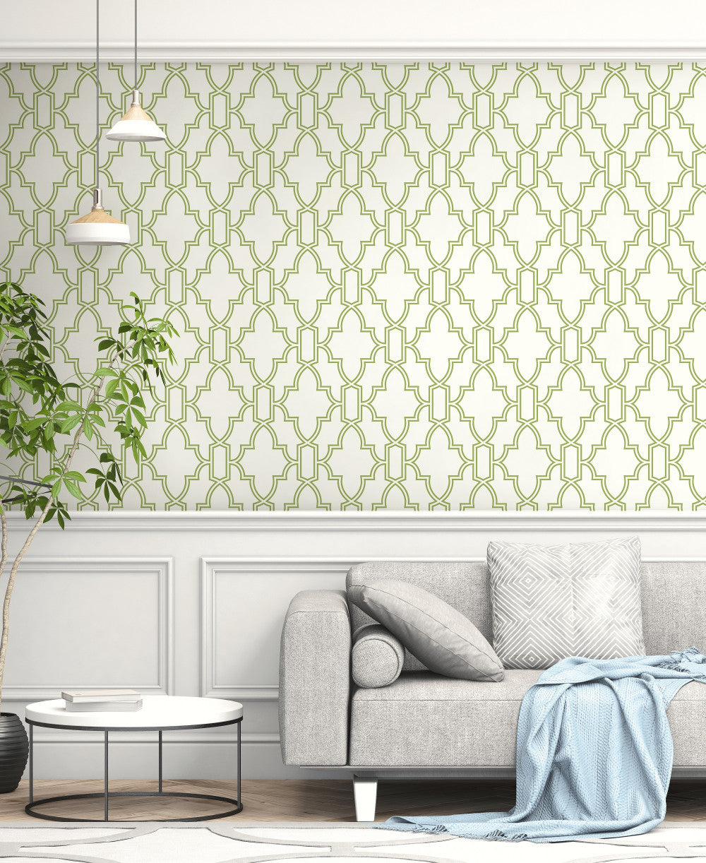 Tile Trellis Peel And Stick Wallpaper In Green And White
