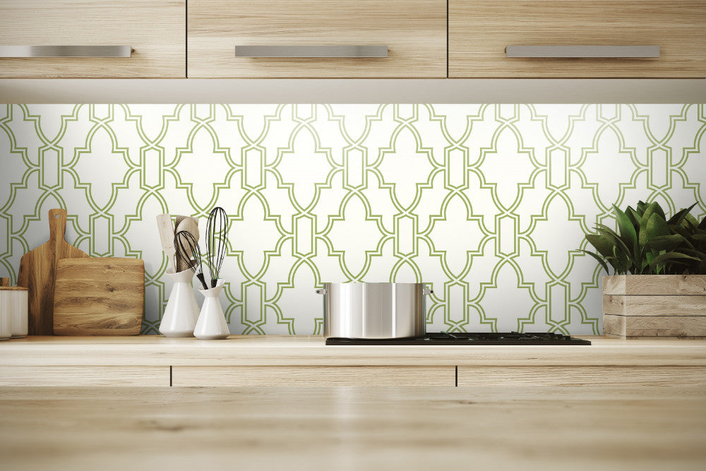 Tile Trellis Peel And Stick Wallpaper In Green And White By Nextwall Burke Decor