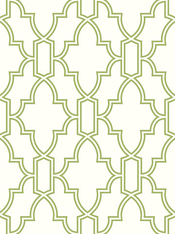 Tile Trellis Peel-and-Stick Wallpaper in Green and White by NextWall