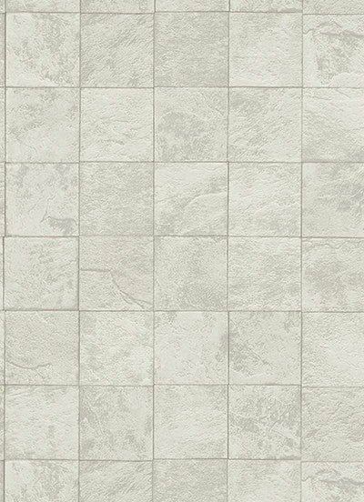 Tile Wallpaper in Light Grey and Ivory design by BD Wall